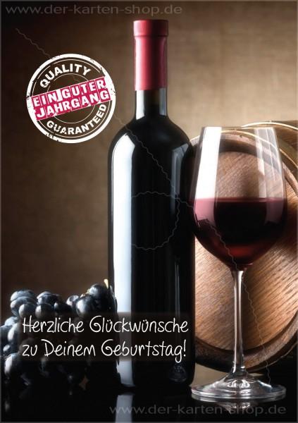 Doppelkarte Geburtstagskarte Wein 'Ein guter Jahrgang, Quality guaranteed.'