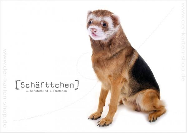 Postkarte Grußkarte Tierischer Mutant Schäferhund – Frettchen 'Schäfftchen'