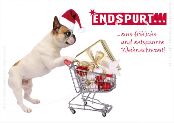 """Doppelkarte Weihnachtskarte kleine Bulldogge mit Einkaufswagen """"Endspurt..."""""""