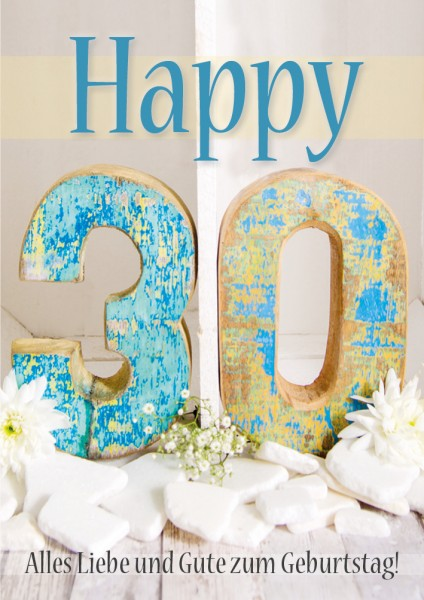 Doppelkarte Geburtstagskarte Zahlengeburtstag '30. Geburtstag'