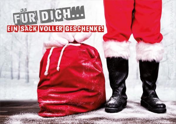 Doppelkarte Weihnachten Nikolaus Weihnachtsmann Stiefel 'Für Dich ein Sack voller Geschenke!'