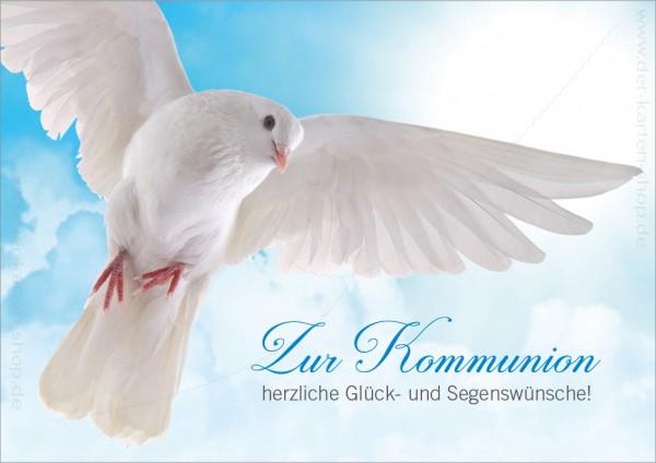Doppelkarte Glückwunschkarte weiße Taube 'Zur Kommunion herzliche Glück- und Segenswünsche!'