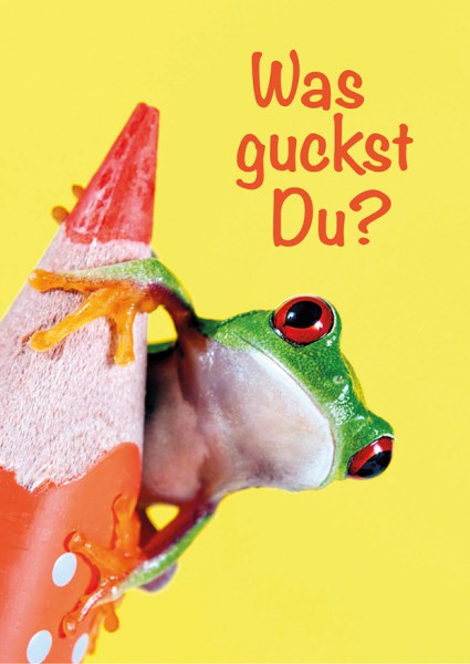 Postkarte Grußkarte lustiger Frosch mit Bleistift 'Was guckst Du?'