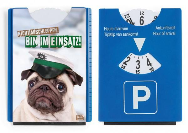 Motiv / Spaß / Fun Parkscheibe mit Eiskratzer und Gummilippe Polizei Mops 'Bin im Einsatz'