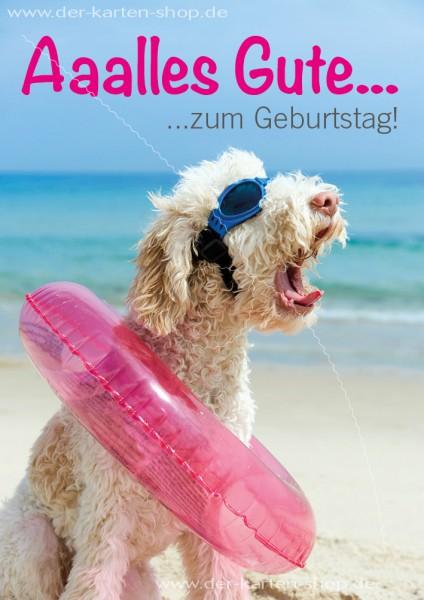 Doppelkarte Geburtstagskarte Glückwunschkarte Hund mit Schwimmreifen 'Alles Gute zum Geburtstag'