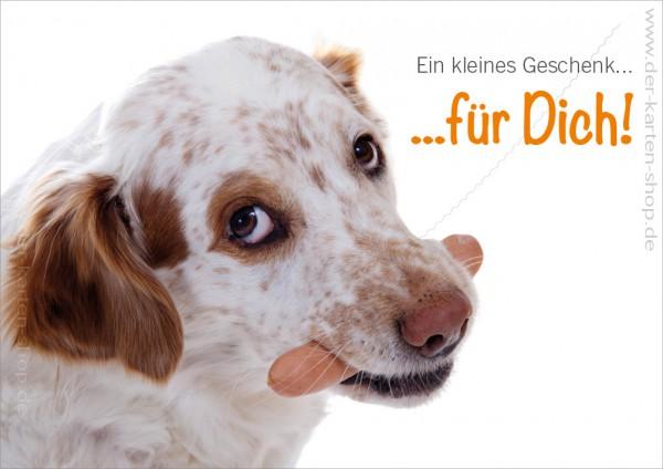 Doppelkarte Geburtstagskarte Glückwunschkarte Hund mit Wurst 'Ein kleines Geschenk für Dich!'