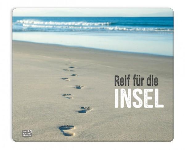 Mauspad Mousepad Fußspuren am Strand 'Reif für die Insel'