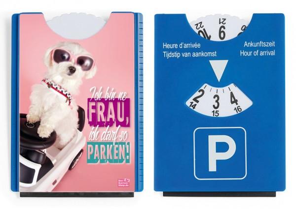 Motiv / Spaß / Fun Parkscheibe mit Eiskratzer und Gummilippe Malteser 'Ich darf so parken!'