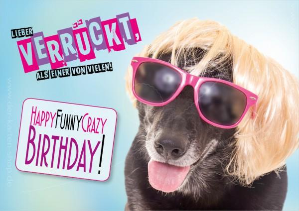 Doppelkarte Geburtstagskarte verrückter Hund 'Lieber verrückt, als einer von Vielen!'