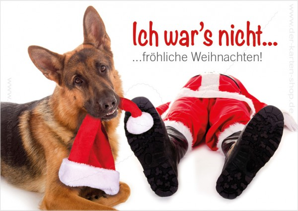 doppelkarte weihnachtskarte sch ferhund mit nikolaus 39 ich. Black Bedroom Furniture Sets. Home Design Ideas