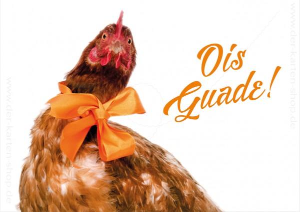Doppelkarte Geburtstagskarte Glückwunschkarte Huhn mit Schleife 'Ois Guade'