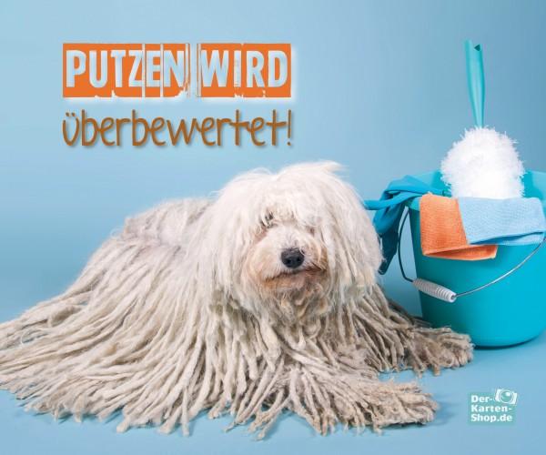 Brillenputztuch witziger Puli Hund 'Putzen wird überbewertet'