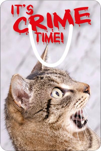 """Lesezeichen Aluminium, Erschrockene Katze """"It's crime time!"""""""