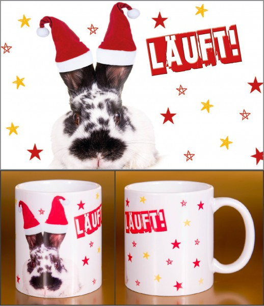 Glühweinbecher Weihnachten Keramik Henkelbecher lustiger Hase Kaninchen 'LÄUFT!'