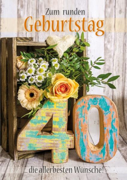 Doppelkarte Geburtstagskarte Zahlengeburtstag '40. Geburtstag'
