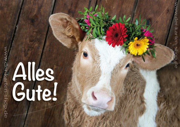 Doppelkarte Geburtstagskarte Glückwunschkarte Kalb mit Blumenkranz 'Alles Gute'