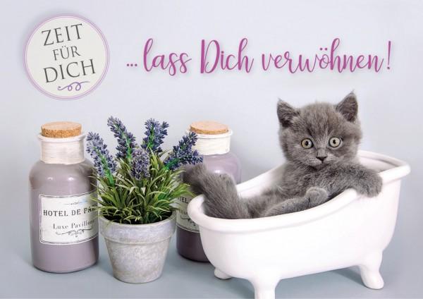 Doppelkarte Grußkarte Kätzchen in Badewanne 'lass Dich verwöhnen'