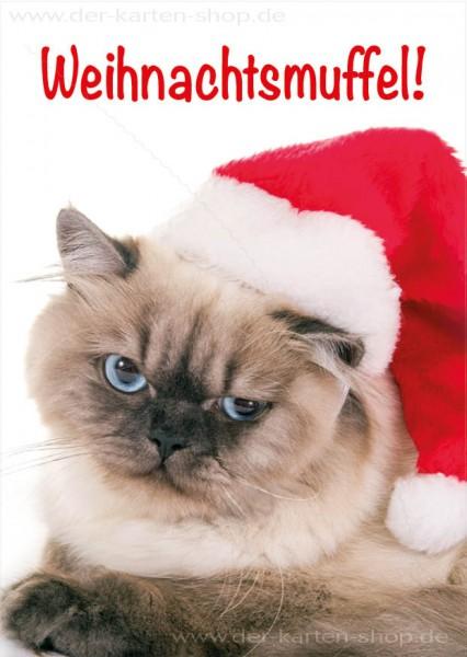 Postkarte Weihnachtskarte Katze 'Weihnachtsmuffel'