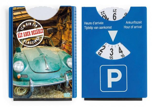 Motiv / Spaß / Fun Parkscheibe mit Eiskratzer und Gummilippe Porsche 'Alt aber bezahlt'