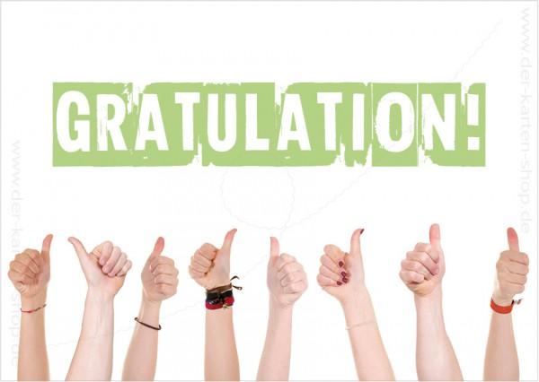 Postkarte Grußkarte Hände mit Daumen hoch 'Gratulation'