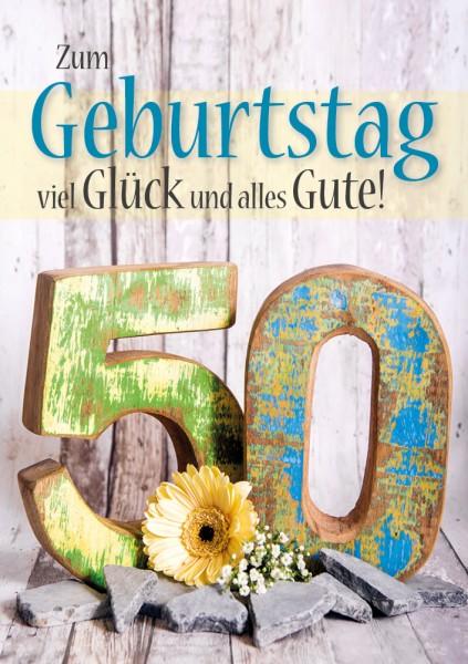 Doppelkarte Geburtstagskarte Zahlengeburtstag '50. Geburtstag'