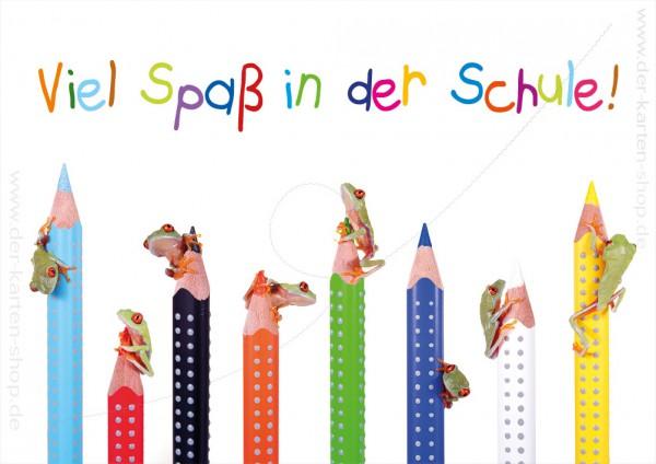 Doppelkarte Grußkarte zum Schulanfang lustige Frösche auf bunten Stiften 'Viel Spaß in der Schule!'