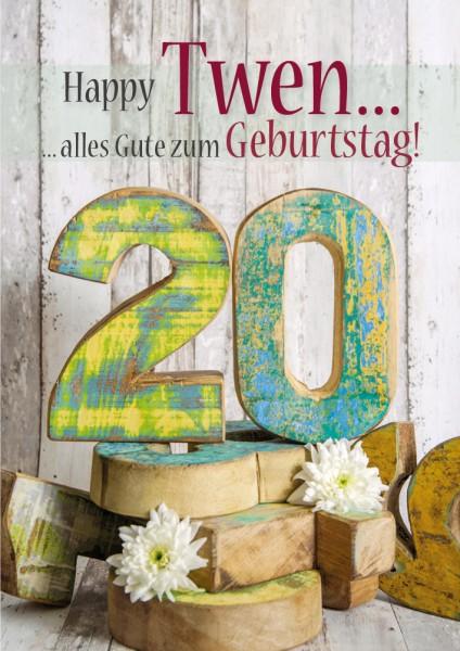 Doppelkarte Geburtstagskarte Zahlengeburtstag '20. Geburtstag'