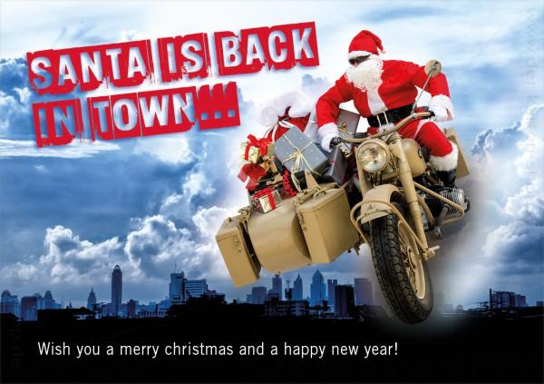 Doppelkarte Weihnachten Weihnachtsmann mit BMW Motorrad 'Santa is back in town'