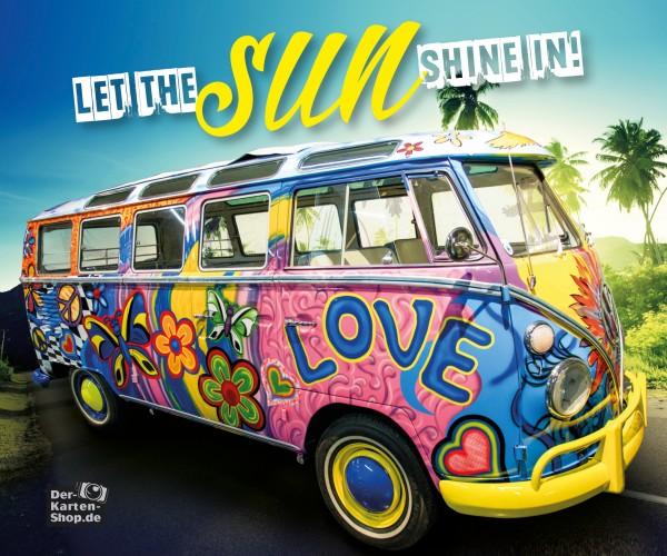 Brillenputztuch VW Bulli mit Spruch 'Let the sun shine in'