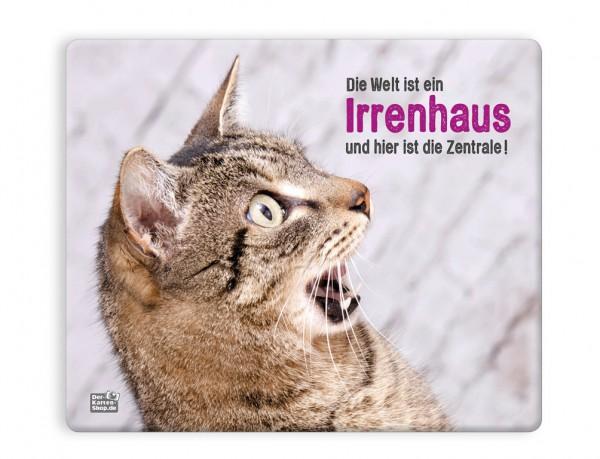 Mauspad Mousepad Witzige Katze Die Welt Ist Ein Irrenhaus Und Hier