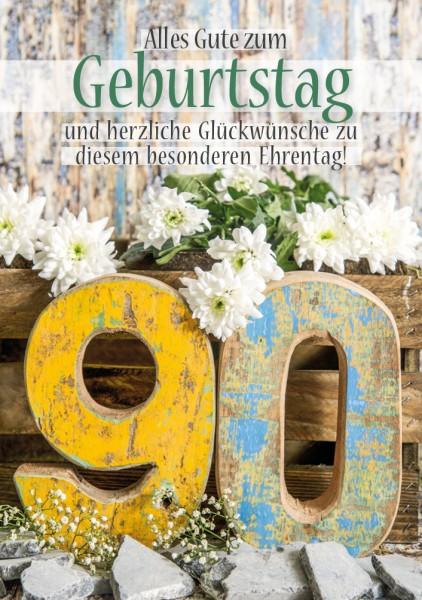 Doppelkarte Geburtstagskarte Zahlengeburtstag '90. Geburtstag'