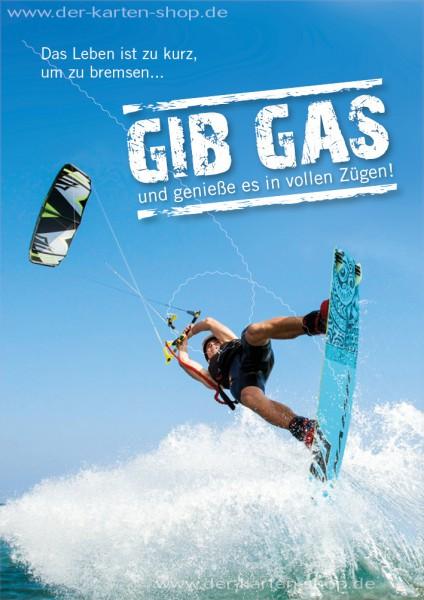 Doppelkarte Geburtstagskarte Glückwunschkarte Kitesurfer Kiter 'Gib Gas!'