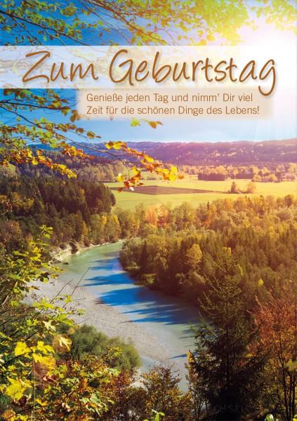 Doppelkarte Geburtstagskarte Landschaftsmotiv 'Zum Geburtstag. Genieße den Tag....'