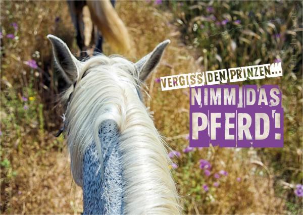 Postkarte Grußkarte Spruchkarte 'Vergiss den Prinzen, nimm das Pferd!'