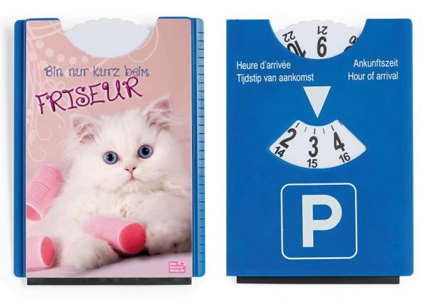 Motiv / Spaß / Fun Parkscheibe mit Eiskratzer und Gummilippe Katze 'Bin nur kurz beim Friseur'