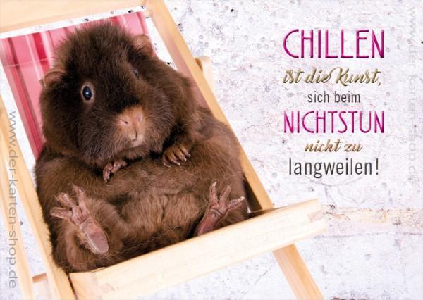 Postkarte Grußkarte Spruchkarte Meerschweinchen 'Chillen ist die Kunst...........'