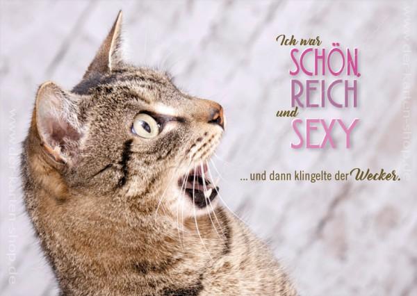 Postkarte Grußkarte Katze 'Ich war schön, reich und sexy. Und dann klingelte der Wecker.'