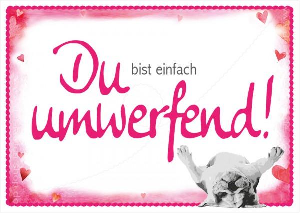 Postkarte Grußkarte Spruchkarte kleine Bulldogge 'Du bist einfach umwerfend!'